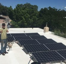 Installation on a new flat roof without any penetrations in Santa Fe, NM.