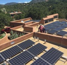 Large, 34 panel installation even offsets the electrical heating in this Santa Fe home.
